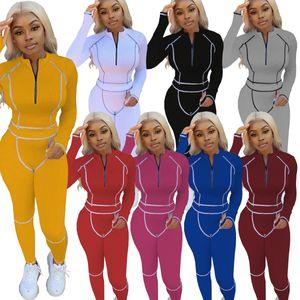 mulheres designers de roupas 2020 novas mulheres 2 peças set agasalho moda casual pullover costura esportes Ladies roupa de jogging terno