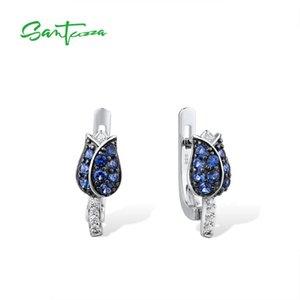 SANTUZZA Silber-Ohrringe für Frauen 925 Sterling Silber Ohrstecker Silver Blue Tulip Zirkonia Brincos Fashion Jewelry 1021