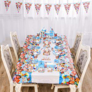 16pcs / lot Cocomelon Stoviglie Bambini 2021 Tovaglia di compleanno Bandiera Ballon Balloon Torta Inserti Set Bambini Bambini Compleanno Party Forniture LY118D