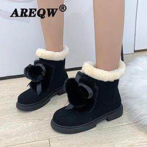 AREQW Mujeres Botas 2020 la nieve del invierno botas de mujer Duantong caliente completamente con las mujeres zapatos de la marea Zapatos