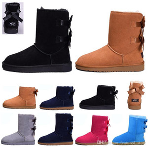 New Women Snow Winter Leather boots Girl Classic kneel half Boots Ankle chestnut Black Grey navy blue red Womens girl shoes