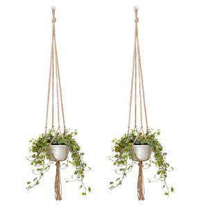 Knotted Macrame Plant Hanger Hook Vintage Cotton Linen Flowerpot Basket Lifting Rope Hanging Basket Pot Holder