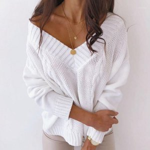 Muyogrt Deep V-образным вырезом Свитер Женщины сексуальные плечо Негабаритные вязаные свитер Женщины Пуловер Трикотаж Осень зима Леди Джупр1