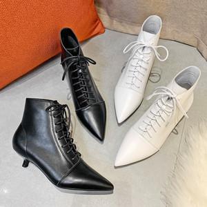 رقيقة عالية الكعب النساء الأحذية الكاحل مثير عبر ربط الدانتيل يصل الصلبة أسود أبيض نقطة تو الخريف الشتاء رعاة البقر أحذية امرأة الأحذية 201102