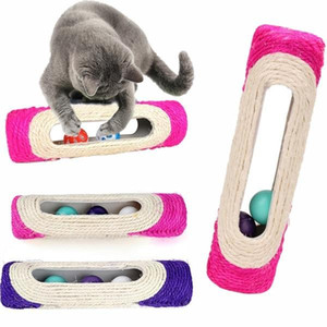 Cat scratcher rolling tunnel sisal ball, built-in 3 interactive training toys, pet cat supplies protection sofa