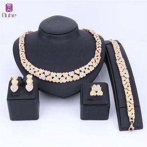 Ouhe Gold Color Kristall Halskette Ohrringe Armband Ring Herzförmige Sets für Frauen Hochzeit Schmuck Braut Charme 201222