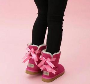 bambini Bailey 2 Archi Stivali bambini del cuoio genuino Snow Boots Solid Botas de Nieve ragazze di inverno Calzature ragazze del bambino Stivali