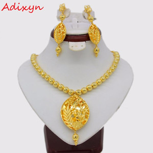 Adixyn Vintage Necklace Earrings Jewelry Set For Women Gold Color Copper Ethiopian Arabic India Party Gifts