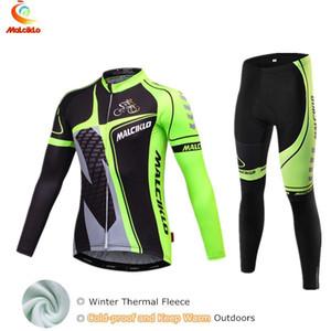 Yarış Setleri Malciklo erkek Bisiklet Jersey Fluo Yeşil Bisiklet Termal Giyim Kış Dağ Skinsuit Için