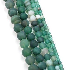 1trand lot 4 6 8 10 12 mm de bandelettes vertes mates Agate Beads Pierre Perles rondes pour bricolage Bracelet Bijoux Fournitures H BBYGNR