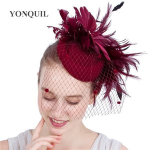 신부 메쉬 패션 메쉬 Chapeau Cap 여성을위한 결혼식 페도라 모자 양모 펠트 매혹적인 모자 멋진 깃털 꽃 머리 피스 1