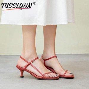 Tasslynn 2020 mature cinq couleurs femmes sandales PU mode gladiateur sandales femmes microfibre casual talons minces dames1