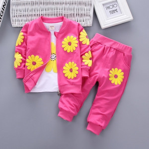 Spring and Autumn Female Baby Cute Zipper Jacket White Long-Sleeved Pants Children Three-Piece Suit New Children's Suit 201126