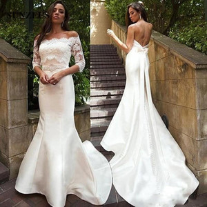 Sexy Low Back Mermaid Wedding Dresses With Appliques Jacket Beaded Sash Elegant Bridal Gowns With Buttons vestito da sposa sirena