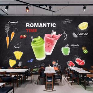 Custom Wall Mural 3D Creative Beverage Juice Art Painting Bar Snack Ice Cream Milk Tea Shop Decor Poster Wallpaper