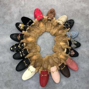 Diseñador clásico Mujeres Hombres Zapatillas de piel Mocasines de cuero genuino Hombres Scullados Mujer China Bordado Bordado Zapatillas planas casuales con caja