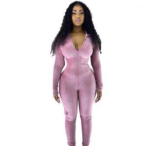 Kadın Romper Casual Tasarımcı Paket Bayan Giyim Tok Renk Moda ile İnce Lepal Boyun Seksi Tulumlar