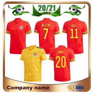 20/21 Jersey de football du pays de Galles européen 2020 Accueil Red Allen Bale Bale Ramsey Shaker Soccer Team National Team James Away Football Uniforme