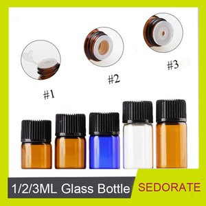 Sedorate 100 Pcs Lot 1ML 2ML 3ML Mini Glass Bottle With Insert Essential Oil Vials Makeup Refill Container LZ012