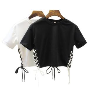Wholesale- Hip Hop female T-shirta Side Split Bandage Crop Tops Summer Style Unique style Exposed navel T-shirts women tee shirt femme 099J