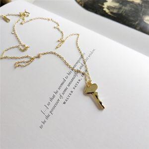 Declaração de prata colar de jóias 925 Sterling Silver doce Key Chain Link colares Mulheres da menina Mulher Pingentes de Ouro
