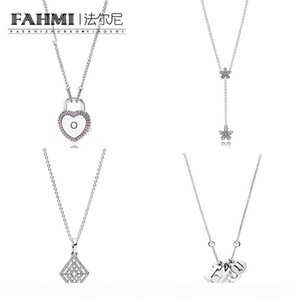 FAHMI 100% 925 Sterling Silver Charm LOCK YOUR PROMISE NECKLACE Dazzling Daisies Necklace Clasp Exquisite Fashion Ladies Jewelry