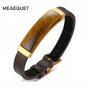 99% Men Leather Genuine Bracelet Brone Color With Tiger Eye Stone Adjustable Length Male Bangle 8.7""