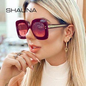 SHAUNA Oversize Praça Sunglasses Women Stainless Steel Wire Arm Moda prego Sun Glasses Homens UV400