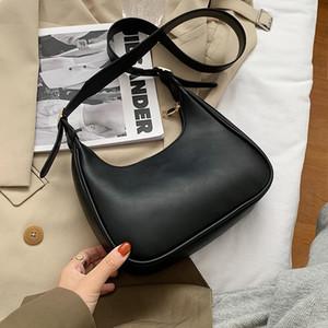 PU Couleur unie en cuir demi-lune Sacs pour femmes 2020 Mode de luxe épaule Sacs à main bandoulière Sac à main Lux Trending