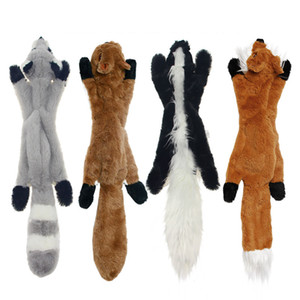 Stuffless Hundespielzeug Füllung Kostenloses Kauspielzeug Set mit Eichhörnchen Fox Skunk und Waschbär Quietschendes Plüschhundspielzeug für mittlere und große Hund