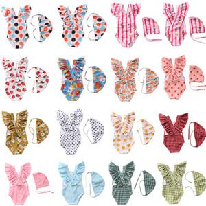 Children plaid Dot stripe Floral print Swimwear baby girls ruffle sleeve swimsuit 2021 summer fashion Bikini Kids One-piece with hats Z2093