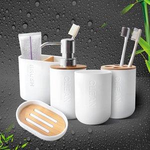 Dispensador de jabón de jabón de jabón de bambú Soporte de cepillo de dientes Soporte de jabón Accesorios de baño T200102