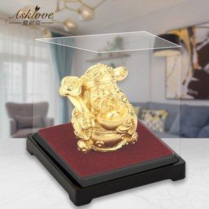Le dieu de la richesse Feng Shui décor 24k Gold Feuille Statue Wealth God Office Ornement Artisanat Collecticuler la richesse Accueil Décoration de bureau 201125