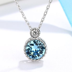 Heart of the ocean S925 Sterling Silver ins Necklace women fashion clavicle chain crystal pendant fashion trend accessories