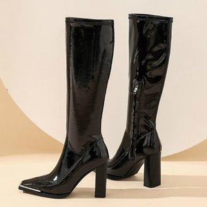 Suede Leather Women' High Boots Girls Fashion High Heel Knee Boots Women Black Winter Shoes Woman zogeer top quality
