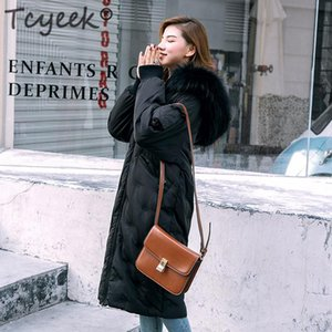 Tcyeek Down Parka Women Duck Down Jackets Female Winter Coat 2020 New Long Embroidery Natural Raccoon Fur Overcoat Hiver LW1112