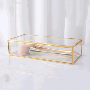 Schmuckschatullen Einfache Gilts Glas Gift Box Sammelbox Retro-Schmuck Anzeige Dekoration Boxen Make-up Schreibtisch Finishing Storage Box DWA1863