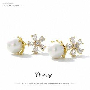 Yhpup Elegante-Qualitäts-koreanische Perlen baumeln Ohrringe Blumen-Kristall Exquisite Ohrringe Weibliche Partei-Hochzeit Schmuck A2nS #