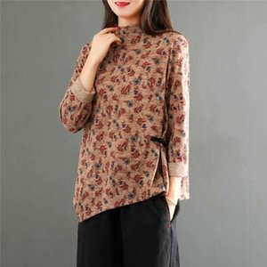 Irregular Female Tops & Tee Retro Ethnic Floral High-Neck Long Sleeve T-Shirt Women's Fall Winter New Casual Base Blusas y501