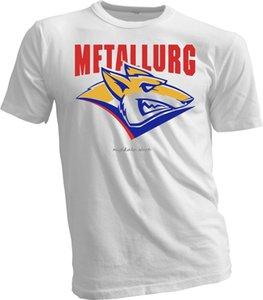 Metallurg Magnitogorsk KHL Russisch Ausbildung Hockeyer Weißes T-Shirt handgefertigt