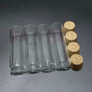 10pcs / lot 30x100mm Flacher unterer Glasprüfrohr mit Korkstopper für Arten von Laborglaswaren q BBYGUF