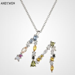 ANDYWEN Fine 925 Sterling Silver Gold Leter A B C Alphabet Necklace Jewelry M K Initial Letter Women Luxury Long Chain Jewelry LJ201009