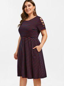 Wipalo plus Größe gestreift Eine Linie Kleid Criss Kreuzhülse Elastische Taille Kleid Sommer Lässige Arbeitskleider Frauen Kleid Vestidos Y200120