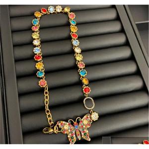 Vintage Butterfly Crystal Necklaces Color Diamond Earrings Studs Brand Letters Designer Bracelet Women L jllitn dayupshop