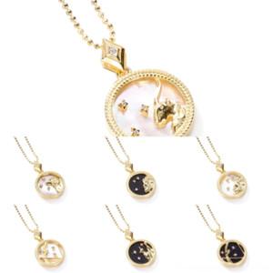 Kv95h jóias conjuntos de moda shell colar popular elegante punk geométrico corrente link leopardo cor colar s925 brinco cinzento doze