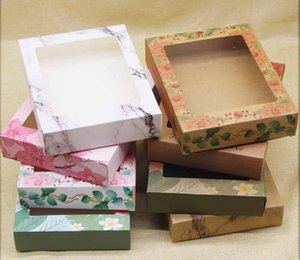 Packaging Box Color Printing gift packaging boxes Paper universal packaging box PVC window white kraft papers box various Patterns SN2270