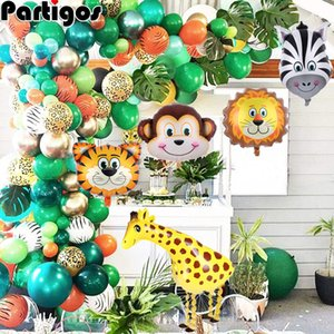 Jungle Safari Theme Balloon Garland Kit Animal Balloons Palm Leaves for Kids Boys Birthday Party Baby Shower Decorations 1027