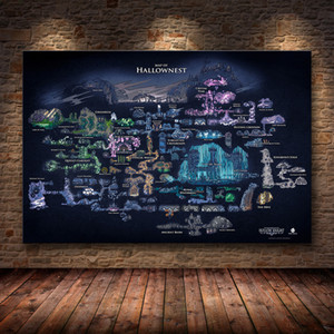 Hollow Knight Map Game Poster Decoration Painting of The on HD Canvas Hallownest wall art Q1107