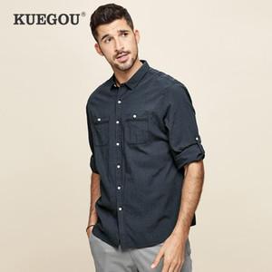 KUEGOU Марка лето Мужские рубашки лето Мужская мода 7 минут рукав досуг плед рубашки Половина рукава рубашки BC-8815
