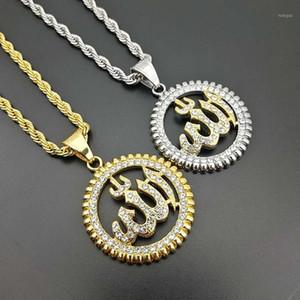 Colares Pingente Hip Hop Bling Gelado Ouro Cor de Prata Aço Inoxidável Islam Muséu Muçulmano Pingentes Redondos Para Homens Rapper Jewelry1